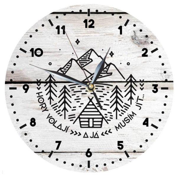 Dřevěné hodiny s reklamním potiskem
